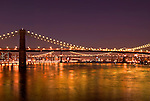 Nightshot of Brooklyn Bridge and Manhattan Bridge, New York City.