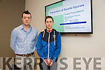 Fergus Foley speaking on prevention of sports injuries and Cillian Tierney speaking on nutrition at the Tralee Tri Club lecture on healthy eating and nutrition benefits on performance at the The Ashe Hotel on Sunday