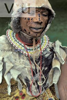 Kikuyu warrior in ceremonial dress, Kenya.