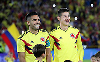 BOGOTÁ - COLOMBIA, 25-05-2018:Radamel Falcao Garcia  y James Rodríguez durante la despedida de la Selección Colombia de fútbol  de mayores  que participará en el Mundial de Rusia 2018 de la hinchada de todo el país y de los asistentes al estadio Nemesio Camacho El Campín de Bogotá. /  Radamel Falcao Garcia and James Rodriguez  during the farewell to the Colombian Soccer Team that will participate in the World Cup in Russia 2018 of fans from all over the country and the people who attended the Nemesio Camacho El Campin Stadium in Bogotá. Photo: VizzorImage / Felipe Caicedo / Staff.