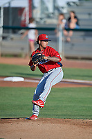 Orem Owlz starting pitcher Sadrac Franco (47) delivers a pitch to the plate against the Ogden Raptors at Lindquist Field on July 27, 2019 in Ogden, Utah. The Raptors defeated the Owlz 14-1. (Stephen Smith/Four Seam Images)