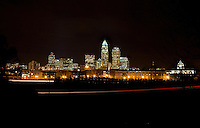 The uptown Charlotte skyline at night in Charlotte, NC.