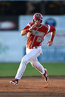 Batavia Muckdogs first baseman Scott Carcaise (13) running the bases during a game against the Mahoning Valley Scrappers on June 21, 2014 at Dwyer Stadium in Batavia, New York.  Batavia defeated Mahoning Valley 10-6.  (Mike Janes/Four Seam Images)