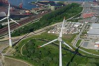 GERMANY Hamburg, aerial view of port, two 6 MW Enercon E-126 windmill infront of coal and ore harbour Hansaport / DEUTSCHLAND Hamburg Hafen, zwei Enercon E-126 mit 6 MW Windkraftanlage in Altenwerder vor Hansaport Kohle und Erz Hafen