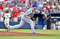 Chicago Cubs starting pitcher Jon Lester (34) delivered a pitch during a game against the Atlanta Braves on July 18, 2015 in Atlanta, Georgia. The Cubs defeated the Braves 4-0. (Tony Farlow/Four Seam Images)