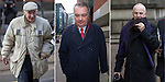 © Joel Goodman - 07973 332324 . No syndication permitted . 15/11/2013 . Manchester , UK . Composite image of three photographs of: L-R William Harper , Alan Ledger and Ray Teret all pictured today (15th November 2013) outside Minshull Street Crown Court in Manchester . Ray Teret (right) , Jimmy Savile 's former chauffeur and flatmate , is charged alongside William Harper (left) and Alan Ledger (centre) with historic sex offences . Photo credit : Joel Goodman