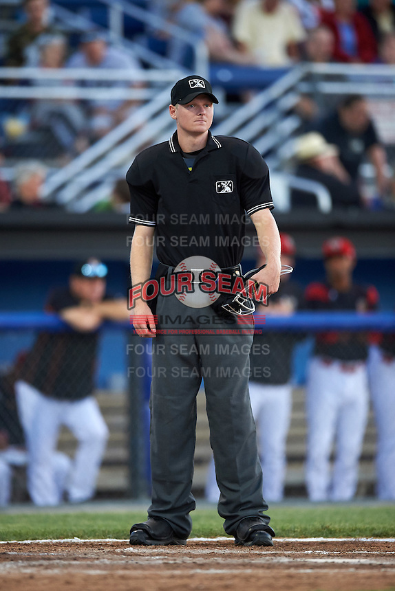 Umpire Louie Krupa during a game between the West Virginia Black Bears and Batavia Muckdogs on June 29, 2016 at Dwyer Stadium in Batavia, New York.  West Virginia defeated Batavia 9-4.  (Mike Janes/Four Seam Images)