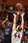 March 6, 2015; Las Vegas, NV, USA; Loyola Marymount Lions forward Emily Ben-Jumbo (15) shoots the basketball against Gonzaga Bulldogs center Shelby Cheslek (44) during the second half of the WCC Basketball Championships at Orleans Arena.