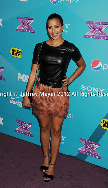 LOS ANGELES, CA - NOVEMBER 05: Julissa Bermudez arrives at FOX's 'The X Factor' finalists party at The Bazaar at the SLS Hotel Beverly Hills on November 5, 2012 in Los Angeles, California.