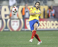 Mario Yepes #3 of Colombia sends the ball up field during an international friendly match against the USA MNT at PPL Park, on October 12 2010 in Chester, PA. The game ended in a 0-0 tie..