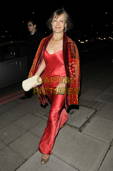 Jenny Agutter.attended the Broadcast Awards 2013, Grosvenor House Hotel, Park Lane, London, England..January 30th, 2013.full length red silk satin dress shawl wrap print clutch bag white walking gold necklace .CAP/CAN.©Can Nguyen/Capital Pictures.