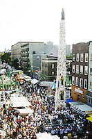 "The ""Giglio"" looms large at the annual Feast of Our Lady of Mount Carmel and the Dancing of the Giglio in Brooklyn, NY, on July 11, 2004."