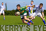 Jack Savage of Tralee CBS breaks away from Shane O'Donnell of St Flannan's in the Frewen Cup Final  held last Wednesday in Croagh, Co. Limerick.