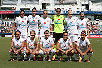 Cary, North Carolina  - Saturday June 03, 2017: Kansas City starters. Front row (from left): Sydney Leroux, Brittany Ratcliffe, Christina Gibbons, Lo'eau Labonta, Desiree Scott; Back row (from left): Brittany Taylor, Yael Averbuch, Katie Bowen, Nicole Barnhart, Becky Sauerbrunn, and Shea Groom prior to a regular season National Women's Soccer League (NWSL) match between the North Carolina Courage and the FC Kansas City at Sahlen's Stadium at WakeMed Soccer Park. The Courage won the game 2-0.