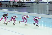 SPEEDSKATING: SOCHI: Adler Arena, 19-03-2013, Training, Gerard van Velde (trainer/coach Team Beslist.nl), Mark Tuitert (NED), Hein Otterspeer (NED), Michel Mulder (NED), © Martin de Jong