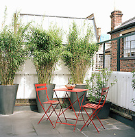 The roof terrace offers a green oasis in the heart of a city. A red metal table and chairs provides a spot to sit and have breakfast on a sunny morning.