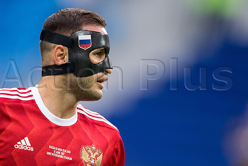17th June 2017, St Petersburg, Russia; FIFA 2017 Confederations Cup football, Russia versus New Zealand; Group A - Saint Petersburg Stadium,  Russia's Fedor Kudriashov playing in a face mask during the Confederations Cup Group A soccer match between Russia and New Zealand at the stadium in Saint Petersburg, Russia, 17 June 2017.
