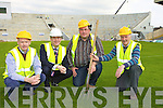 Busy preparing Fitzgerald Stadium for The Pussycat Dolls Summerfest concert and the Kerry/Cork Munster championship clash are l-r: Shane O'Driscoll Summerfest, Patrick O'Donoghue Killarney Mayor, Tadgh Moriarty Summerfest and Billy Doolan Fitzgerald Stadium Event Controller