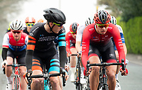 Picture by Allan McKenzie/SWpix.com - 15/04/18 - Cycling - HSBC UK British Cycling Spring Cup Road Series - Chorley Grand Prix 2018 - Chorley, England - Madison Genesis's Connor Swift and Vitus's Deins Kanepejs.