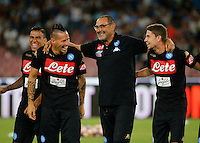 Miguel Allan ,Marek Hamsik , Maurizio Sarri and Jorginho  before the friendly soccer match,between SSC Napoli and Onc Nice      at  the San  Paolo   stadium in Naples  Italy , August 02, 2016