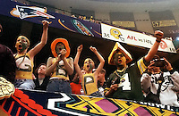 Green Bay Packers fans cheer on the Pack at Super Bowl XXXI in the Superdome in New Orleans on January 26, 1997.