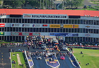 Apr. 28, 2012; Baytown, TX, USA: Aerial view of NHRA pro mod cars during qualifying for the Spring Nationals at Royal Purple Raceway. Mandatory Credit: Mark J. Rebilas-