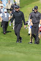 Jason Day (AUS) and Chris Harrison walk to the 7th green during Sunday's Final Round of the 2018 AT&amp;T Pebble Beach Pro-Am, held on Pebble Beach Golf Course, Monterey,  California, USA. 11th February 2018.<br /> Picture: Eoin Clarke | Golffile<br /> <br /> <br /> All photos usage must carry mandatory copyright credit (&copy; Golffile | Eoin Clarke)