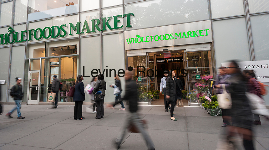 The Whole Foods Market opposite Bryant Park in New York on Tuesday, May 9, 2017. Whole Foods Market will release its fiscal second-quarter earnings report after the close of the market on Wednesday.  (© Richard B. Levine)