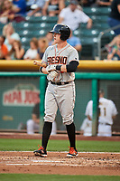 Trent Woodward (8) of the Fresno Grizzlies bats against the Salt Lake Bees at Smith's Ballpark on September 3, 2017 in Salt Lake City, Utah. The Bees defeated the Grizzlies 10-8. (Stephen Smith/Four Seam Images)