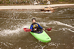 April 30, 2012. Charlotte, NC.. Rob Raker, the river guide for Erik Weihenmayer, cools off.. Erik Weihenmayer, who has been completely blind since age 13, is training at the United States National White Water Center in an attempt to kayak through the Grand Canyon. Weihenmayer is an accomplished outdoorsman who has climbed the 7 Summits, and is the only blind person to climb Mount Everest.