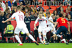 (L-R) Norway's Markus Henriksen, Norway's Martin Odegaard, Norway's Omar Elabdellaoui and Spain's Sergio Busquets  during the qualifying match for Euro 2020 on 23th March, 2019 in Valencia, Spain. (ALTERPHOTOS/Alconada)