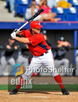 2 March 2011: Washington Nationals outfielder Jeff Frazier in Spring Training action against the Florida Marlins at Space Coast Stadium in Viera, Florida. The Nationals defeated the Marlins 8-4 in Grapefruit League action. Mandatory Credit: Ed Wolfstein Photo
