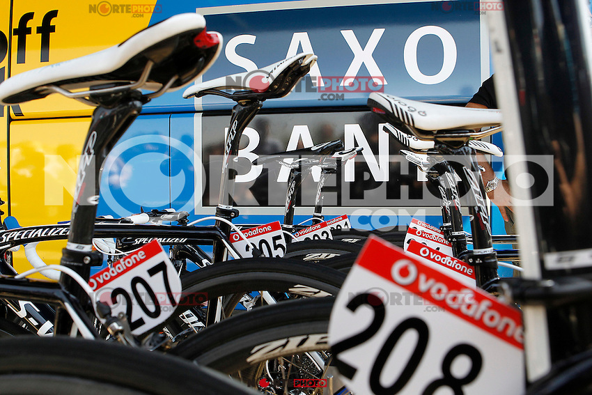 The bikes of Team Saxo Bank-Tinkoff Bank members along the team bus during the stage of La Vuelta 2012 between Huesca and Motorland Aragon (Alcaniz).August 24,2012. (ALTERPHOTOS/Acero) /NortePhoto.com<br />