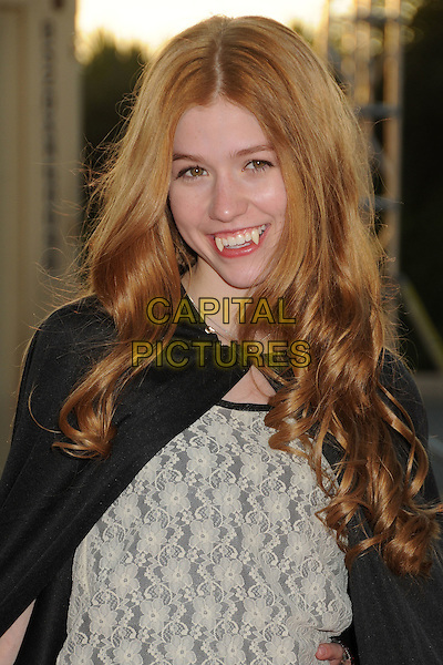 "Katherine McNamara.18th Annual ""Dream Halloween"" To Benefit The Children Affected By AIDS Foundation held at Barker Hangar, Santa Monica, California, USA, .29th October 2011 .hallowe'en costume dressed up  half length fangs mouth teeth  vampire .CAP/ADM/BP.©Byron Purvis/AdMedia/Capital Pictures."