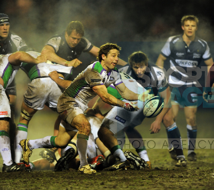 Andy Gomarsall of Leeds  feeds the ball from a scrum