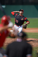 Batavia Muckdogs relief pitcher Brent Wheatley (23) delivers a pitch during the first game of a doubleheader against the Williamsport Crosscutters on August 20, 2017 at Dwyer Stadium in Batavia, New York.  Batavia defeated Williamsport 6-5.  (Mike Janes/Four Seam Images)