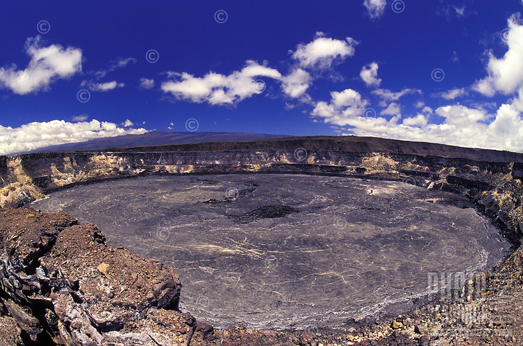 A crust of hardened lava caps the top of Kilauea caldera, at Hawaii Volcanoes National Park on the Big Island of Hawaii.