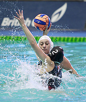 PICTURE BY CHRIS MANGNALL/SWPIX.COM - Water Polo - British Water Polo Championships 2012 - Women's Final, Manchester v London Otters - Manchester Aquatics Centre, Manchester, England - 19/02/12 - Manchester's Rosie Egan shoots v London Otters Alexis Higlett.