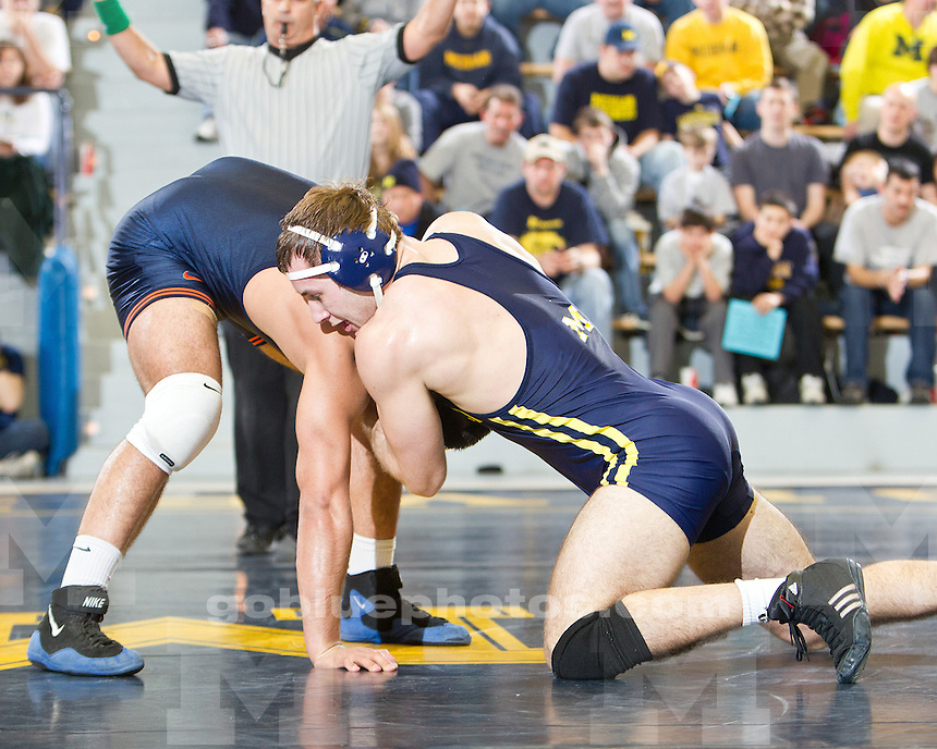 The University of Michigan wrestling team fell to the University of Illinois, 31-9, at Cliff Keen Arena in Ann Arbor, Mich., on January 8, 2012.