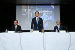 May 8, 2015, Tokyo, Japan - Akio Toyoda, center, president of Japan's Toyota Motor Corp., stands during a news conference at its head office in Tokyo on Friday, May 8, 2015. The world's top-selling automaker forecasts operating profit will edge up 1.8 percent this year to 2.80 trillion yen. (Photo by Yohei Osada/AFLO)