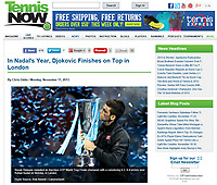 Tennis Now Website - 'Novak Djokovic repeated as Barclays ATP World Tour Finals champion with a convincing 6-3, 6-4 victory over Rafael Nadal on Monday in London' - Photo by Rob Newell (Camerasport)