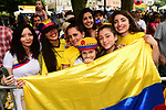 Colombian fans at sign on before the start of Stage 9 of the 104th edition of the Tour de France 2017, running 181.5km from Nantua to Chambery, France. 9th July 2017.<br /> Picture: ASO/Alex Broadway | Cyclefile<br /> <br /> <br /> All photos usage must carry mandatory copyright credit (&copy; Cyclefile | ASO/Alex Broadway)