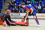 ROTTERDAM  - NK Zaalhockey . finale heren: SCHC-Amsterdam (2-2, SCHC wint shoot-outs) .Thijs van Pelt (SCHC) met keeper Philip van Leeuwen (Adam)  tijdens de shoot-outs.COPYRIGHT KOEN SUYK