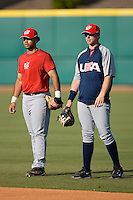 Pedro Alvarez #24 and Justin Smoak #16  of Team USA during batting practice at the USA Baseball National Training Center, September 4, 2009 in Cary, North Carolina.  (Photo by Brian Westerholt / Four Seam Images)