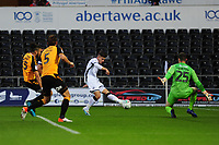 Declan John of Swansea City in action during the Carabao Cup Second Round match between Swansea City and Cambridge United at the Liberty Stadium in Swansea, Wales, UK. Wednesday 28, August 2019.