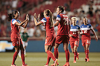 Sandy, Utah - Saturday, September 13, 2014: The USWNT take the lead at the end of first half in an International friendly match vs Mexico at Rio Tinto stadium.