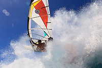 Laurent Guillemin (FRA) windsurfing in Ho'okipa Beach Park (Maui, Hawaii, USA)