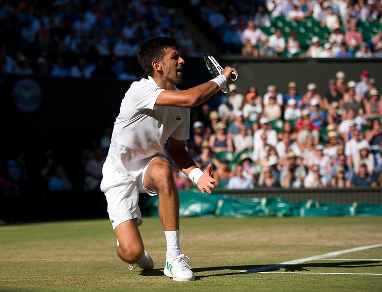 Novak Djokovic of Serbia in action during his victory over Ernests Gulbis of Latvia in their Men's Singles Third Round Match today - Djokovic def Gulbis 6-4, 6-1, 7-6<br /> <br /> Photographer Ashley Western/CameraSport<br /> <br /> Wimbledon Lawn Tennis Championships - Day 6 - Saturday 8th July 2017 -  All England Lawn Tennis and Croquet Club - Wimbledon - London - England<br /> <br /> World Copyright &not;&copy; 2017 CameraSport. All rights reserved. 43 Linden Ave. Countesthorpe. Leicester. England. LE8 5PG - Tel: +44 (0) 116 277 4147 - admin@camerasport.com - www.camerasport.com