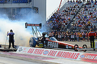 Sept. 21, 2012; Ennis, TX, USA: NHRA top fuel dragster driver Spencer Massey during qualifying for the Fall Nationals at the Texas Motorplex. Mandatory Credit: Mark J. Rebilas-