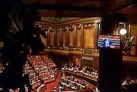 Roma, 24 Giugno 2014<br /> Il Presidente del consiglio Matteo Renzi nell'Aula del Senato per le comunicazione sul semestre europeo.<br /> Panoramica dell'aula semivuota.<br /> Rome, June 24, 2014 <br /> The italian Premier , Matteo Renzi in the Senate for communication on the European Semester <br /> The half-empty Senate chamber